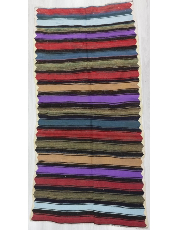 Colorful Striped Vintage Turkish Kilim Rug