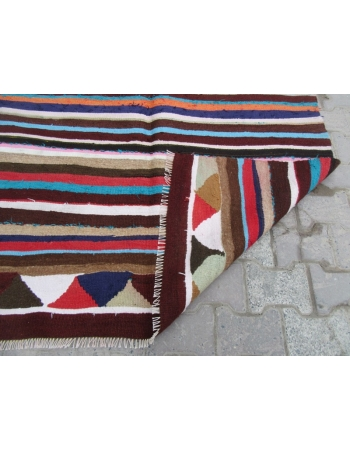 Striped Colorful Vintage Kilim Rug