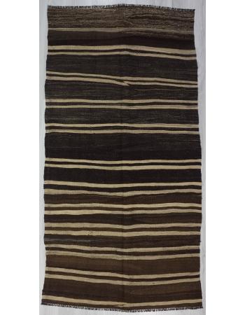 Natural Striped Vintage Turkish Kilim Rug