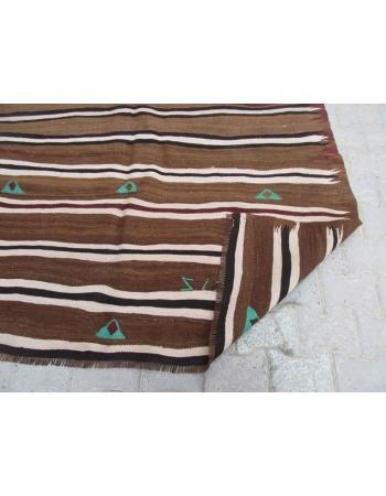 Vintage Brown Unique Kilim Rug