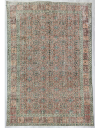 Distressed Vintage Turkish Deco Rug
