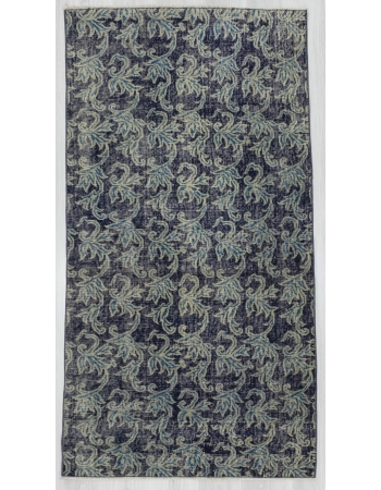 Floral Vintage Navy Blue Turkish Rug