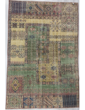 Vintage Distressed Turkish Deco Rug