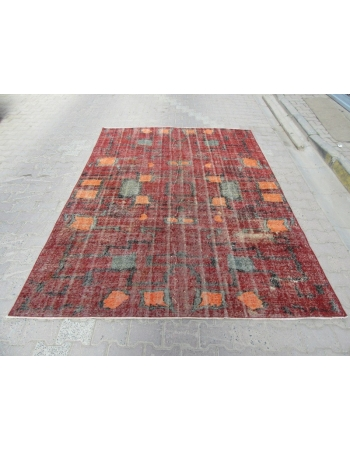 Burgundy / Orange Art Deco Rug
