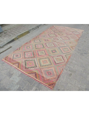 Embroidered Vintage Turkish Kilim Rug