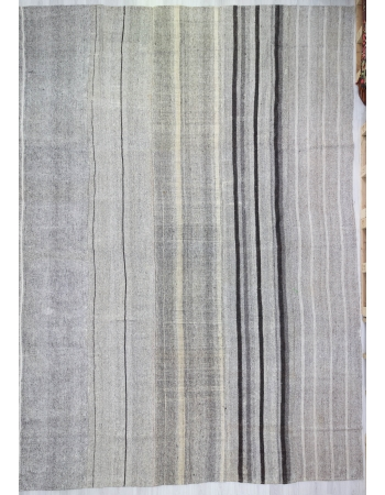 Vertical Striped Oversized Gray Vintage Kilim Rug