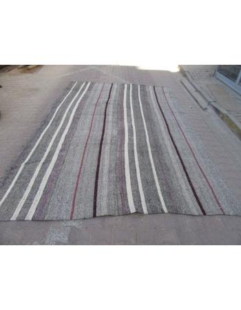 Striped Vintage Modern Gray Kilim Rug