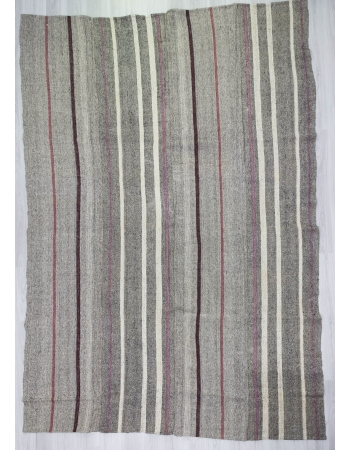 Striped Vintage Modern Gray Kilim Rug