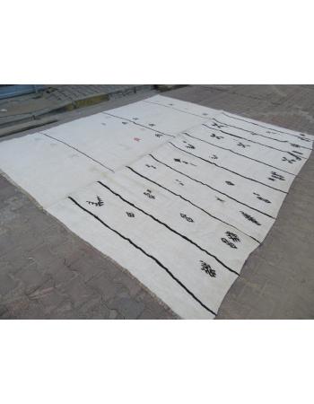 Large Vintage Striped Turkish Hemp Kilim rug