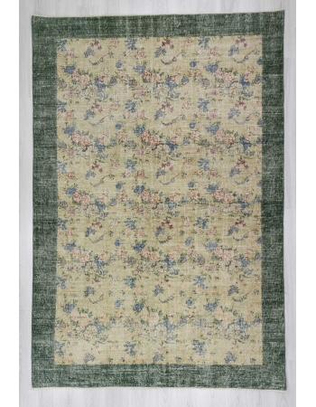 Floral designed vintage Turkish art deco rug