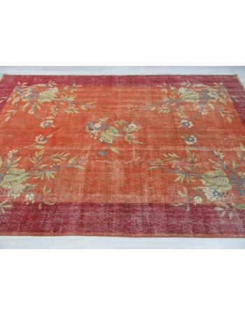 Floral designed Turkish art deco rug