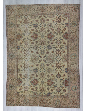 Vintage distressed all over designed Turkish Oushak rug