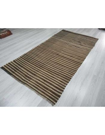 Brown & Ivory striped vintage natural Turkish kilim rug