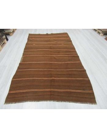 Brown,Black,Orange striped vintage Turkish kilim rug
