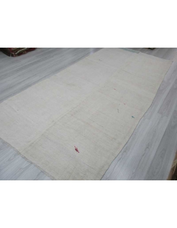 Handwoven vintage white modern Turkish hemp kilim rug