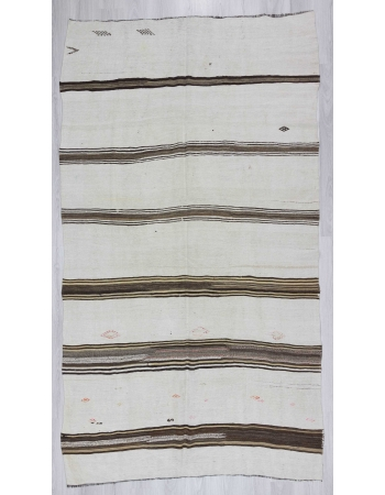 Vintage striped Turkish hemp kilim rug