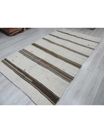 Vintage striped Turkish hemp kilim rug