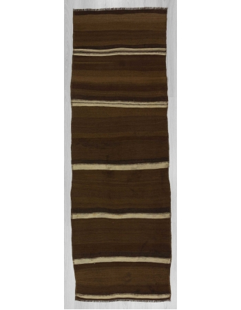 Vintage brown and white striped natural kilim runner rug