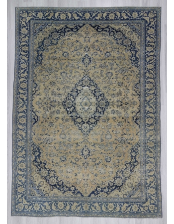 Navy blue beige vintage medallion designed Persian Tabriz rug