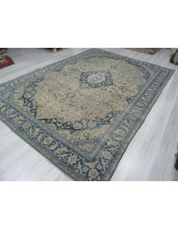 Navy blue beige vintage medallion designed Persian Tabriz rug