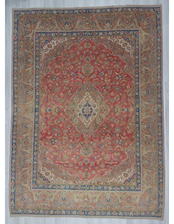 Vintage oversized medallion designed Persian Tabriz rug