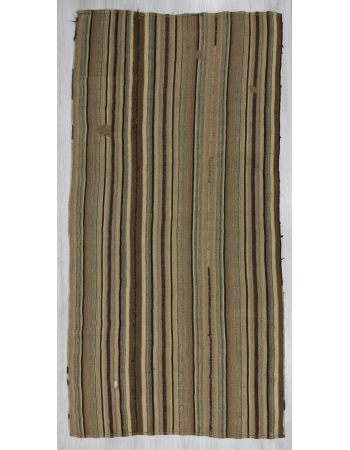 Vintage striped natural Turkish kilim rug