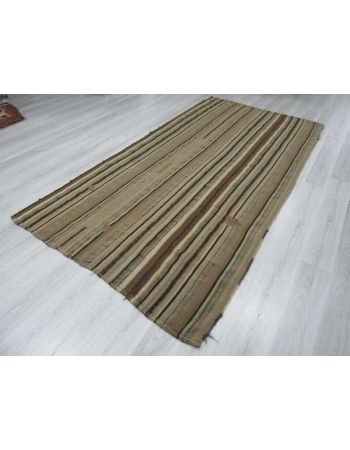 Vintage striped natural Turkish kilim rug