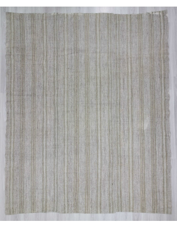 Striped vintage modern gray Turkish kilim rug