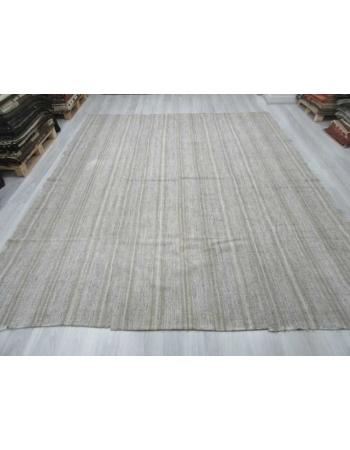 Striped vintage modern gray Turkish kilim rug