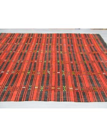 Handwoven vintage black and orange striped embroidered Turkish kilim rug
