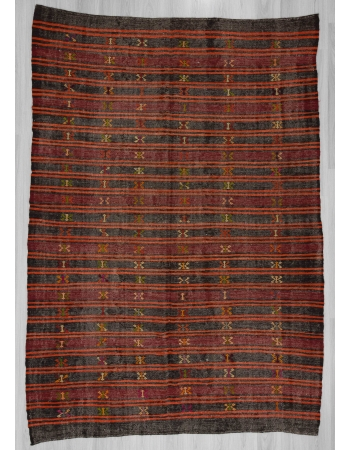 Black,Orange,Burgundy vintage striped embroidered Turkish kilim rug