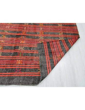 Black,Orange,Burgundy vintage striped embroidered Turkish kilim rug