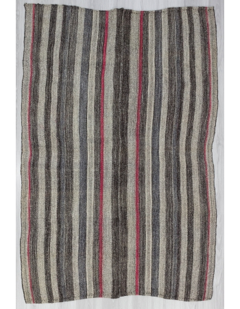 Red / Gray Striped Vintage Kilim Rug