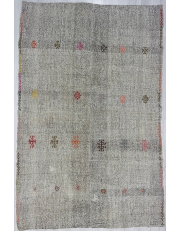 Vintage Embroidered Gray Kilim Rug