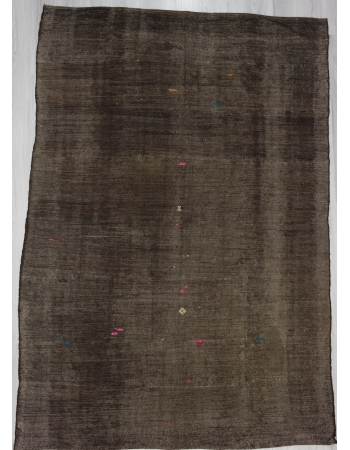 Dark Brown Vintage Plain Turkish Kilim Rug