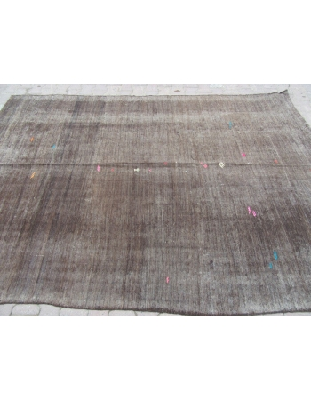 Dark Brown Vintage Plain Turkish Kilim Rug