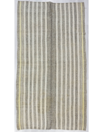 Gray / White / Yellow Striped Unique Kilim Rug