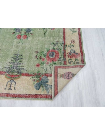 Vintage floral green Turkish deco rug