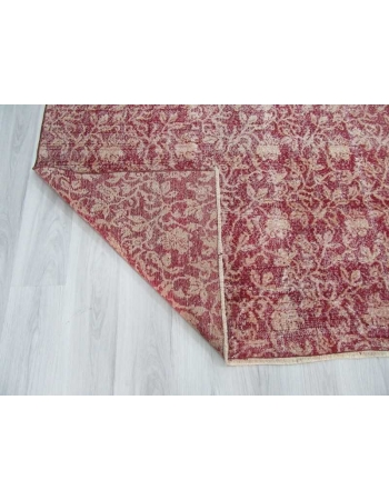 Vintage floral designed burgundy Turkish deco rug
