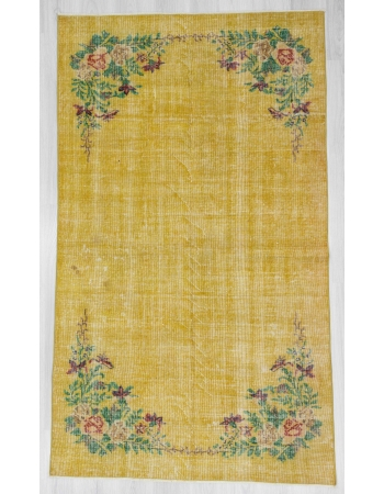 Floral designed yellow vintage deco rug