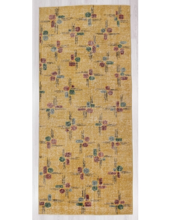 Vintage yellow Turkish deco rug