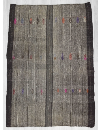 Embroidered Black & Gray vintage Turkish kilim rug