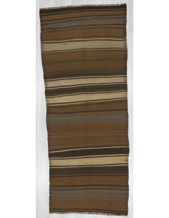 Handwoven vintage striped Turkish kilim runner rug