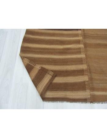 Vintage striped brown Turkish wool kilim rug