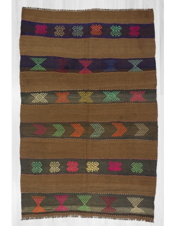 Embroidered vintage wool kilim rug