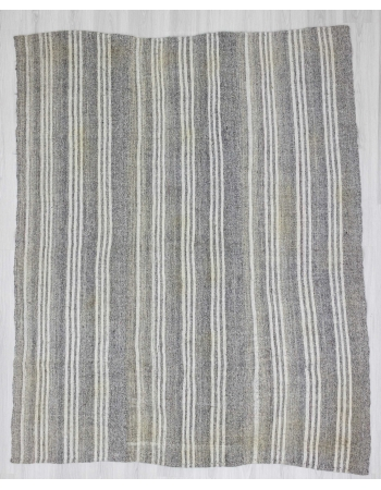 White & Gray Striped vintage Turkish kilim rug