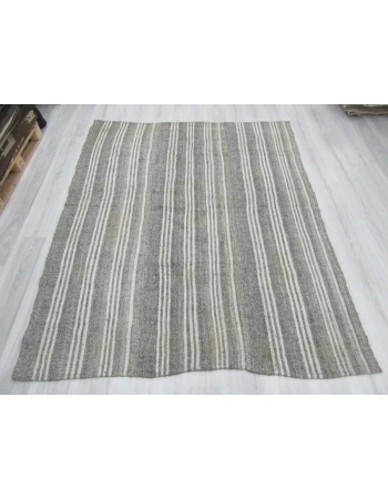 White & Gray Striped vintage Turkish kilim rug