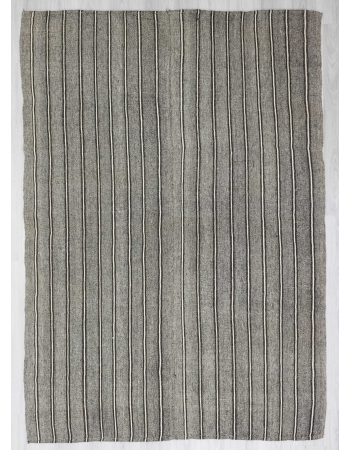 Striped gray Turkish kilim rug