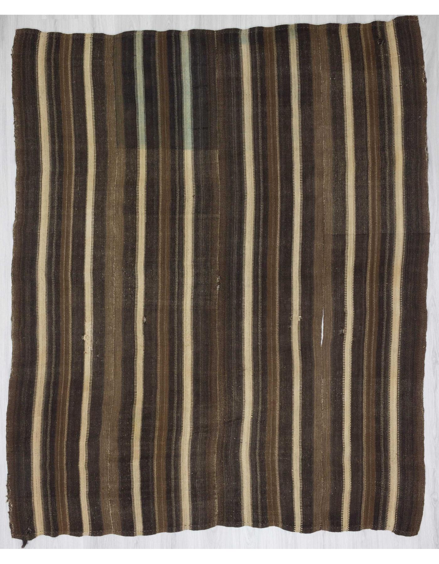 White Brown Striped Vintage Turkish Kilim Rug