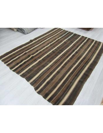 White & Brown striped vintage Turkish kilim rug